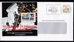 Germany: Advertorial Cover, 1988, 1 Stamp, Cancel Moon Landing, Apollo, Space, Rocket (traces Of Use) - Brieven En Documenten