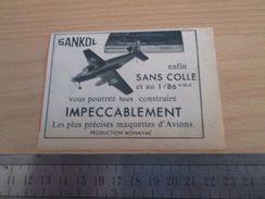 Pour  Collectionneurs  PUBLICITE Années 60 : MAQUETTE D'AVION SANKOL Au 1/86e PRODUCTION MONOVAC Format Voir Règle En Ph - Airplanes