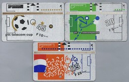 NL.- 3 X Telefoonkaart.Nederland. PTT Telecom Officieel Sponsor Van De KNVB. 5,10 En 25 Gulden Voetbal. 131B, 131D, 131G - Sport