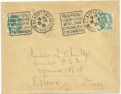 MAINE Et LOIRE - Dépt N° 49 = BEAUPREAU 1925 =  Flamme SUPERBE = DAGUIN  ' GROS MARCHÉS /  BETAIL GRAS / ET MAIGRE' - Marcophilie (Lettres)