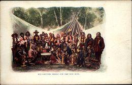 INDIENS - Getting Ready For The Pow Wow - Carte Gaufrée - Carte En Relief - Indiens De L'Amerique Du Nord