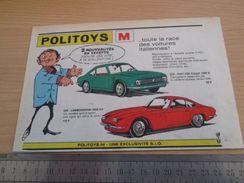 Page De Revue Des Années 60/70 : PUBLICITE POLITOYS-M LAMBORGHINI Et FIAT OSI 1/43e ; Dimensions : 1/2 De Page A4 - Politoys
