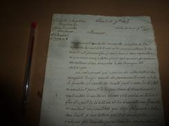1815 Lettre De MARBOIS Pour Appliquer Loi Nouvelle Sur La REPRESSION DES CRIS SEDITIEUX Et PROVOCATION A LA REVOLTE,etc - Manuscrits