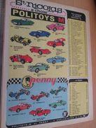 Page De Revue Des Années 60/70 : PUBLICITE POLITOYS-M ET PENNY (Cilline ?) 1/43e ; Dimensions : Page A4 - Politoys