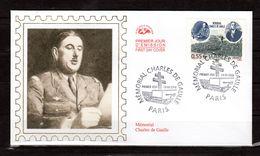 """"""" MEMORIAL CHARLES DE GAULLE """" Sur Enveloppe 1er Jour En SOIE De 2008. N° YT 4243. Parfait état. - De Gaulle (General)"""