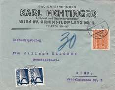 ÖSTERREICH NACHPORTO 1920 - 2x15 Gro (2xAnk142) Nachgebühr + 1500 Kronen (Ank393) Firmen Brief Gel.Wien - Portomarken