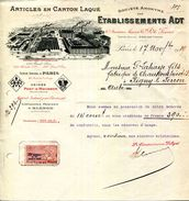 ARTICLES EN CARTON LAQUE.Ets.ADT 45 RUE DE TURBIGO.PARIS.USINES A PONT A MOUSSON ( 54 ) - Stamperia & Cartoleria