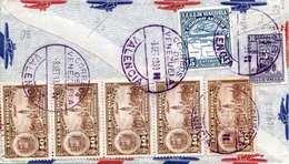 RRR! VENEZUELA 1939 - 9 Fach Frankierung Auf LP-Brief Von Valencia Venezuela Nach Monza Italien, 4 Stempel - Venezuela