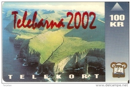 TARJETA DE LAS ISLAS FAROE DE 100 KR DE UN PAISAJE (TELEBARNA 2002) - Féroé (Iles)