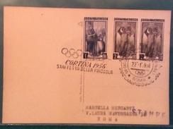 OLIMPIADE  CORTINA 1956  ANNULLO OLIMPICO CORTINA STAFFETTA DELLA FIACCOLA  ROMA CAMPIDOGLIO GIORNATA OLIMPICA 22/1/56 - Giochi Olimpici