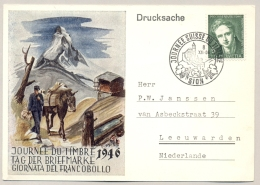 Schweiz - 1946 - 5c Rodolphe Toepfer, Journee Suisse De Timbre Sion Sent To Leeuwarden / Nederland - Pro Juventute