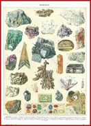 Minéraux Illustration M J Vasque Recto-verso Larousse 1948 - Vieux Papiers
