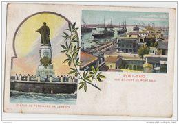 3AB37 PORT SAÏD VUE DU PORT STATUE DE FERDINAND DE LESSEPS    2 SCANS - Port Said