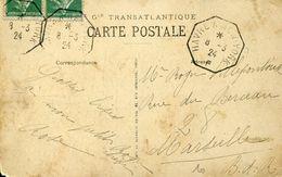 29261 France, Circuled Card 1924 To Marseille With Postmark Navire LE HAVRE - NEW YORK - Curiosità: 1921-30 Storia Postale