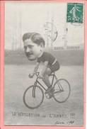 """Carte-photo D'une Personne Sur Un Vélo Avec Tête Agrandie """"La Révélation De L'Année"""" Reveil Sportif (1909 !?) - Cyclisme"""