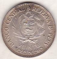 Perou. 20 Soles 1965 . 400th Anniversary Of Lima . Argent .KM# 241 - Pérou