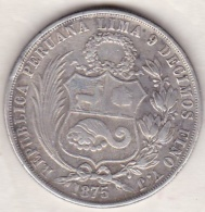 Perou. 1 Sol 1875 YJ . Argent . KM# 196.3 - Pérou