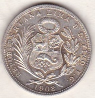 Perou. 1/5 Sol 1908 FG . Argent .KM# 205.2. Sup/XF - Pérou