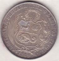 Perou. 1 Sol 1869  YJ . Argent . KM# 196.3 - Pérou
