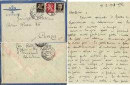 AEROGRAMMA POSTA MILITARE 56 1941 GIORMI ALBANIA X CUNEO + LETTERA TER - 1900-44 Vittorio Emanuele III