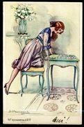 "CPSM Color Signierte Künstlerkarte Italien 1921""M'epousera-t-il ?""1 AK,benutzt - Pin-Ups"