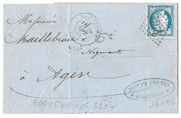 LETTRE Avec N° 60/1 ;121 A2; RARE TTB - 1871-1875 Cérès