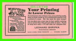 BUVARDS, IMPRIMERIE - LEONARD SHRIPKA, ROACHDALE, INDIANA - - Buvards, Protège-cahiers Illustrés
