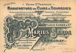 020118 Carte De Visite - 07 ANNONAY Manufacture Cuir Courroie Usine ST FRANCOIS MARIUS SARDA - Annonay