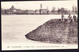CPA - STRASBOURG (67 - BAS RHIN) - LE RHIN A KHEL, VUE SUR KHEL PRISE DE LA RIVE GAUCHE, MILITAIRE (N° 118) - ANIMEE - Strasbourg