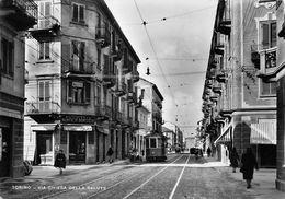 """07248 """"TORINO - VIA CHIESA DELLA SALUTE"""" ANIMATA, TRAMWAY, MOTOSIDECAR, PANIFICIO RONCAGLIA. CART. ORIG. NON SPED. - Italie"""