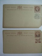 INDIA -  Jhind State & Gwailior - Victoria 1/4 Anna Postcards - Jhind