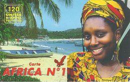 CARTE-PREPAYEE-FRANCE-EAGLE TELECOM-AFRICA N°1-FEMME -PLAGE-V° Logo EAGLE Vert/ Rouge En  Haut A Droite-GRATTE E-TBE - Frankreich