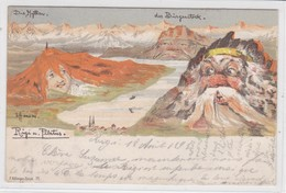 Hansen (Nolde) Rigi Und Pilatus, Hellfarbig, Unterschrift Links - Illustrators & Photographers