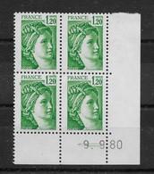 Coin Daté N° 2101 Du 9.9.1980 ** TTBE - Cote Y&T 2019 De 4 € - 1980-1989