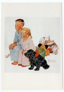 Norman Rockwell Garçon Et Jeune Fille Avec Un Chien Et Des Jouets 1992 état Superbe - Autres Illustrateurs