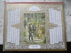 Calendrier 1916 Almanach Des Postes Et Télégraphes : Gravure Gaufrée Chasseurs Alpins Et Schlitteurs Dans Les Vosges - Calendars