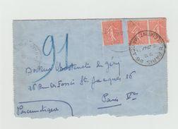 PNEUMATIQUE 1931 - Carte Lettre Avec Cachet PARIS 86 Rue Clement Marbot + R.Cujas Au Dos + Timbres Semeuses Lignees 50c - Marcophilie (Lettres)