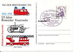 Germany Postcard Stamp's Day Rostock 27-10-1991 Fire Brigade 125th Anniversary Rostocker Fire Brigade - [7] Federal Republic