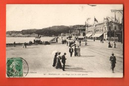 GAQ-26  Marseille, La Plage, TRES ANIME. Cachet Frontal. Circulé - Vieux Port, Saint Victor, Le Panier