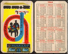 Pocket Calendar - Hungary LOCOMOTIVE TRAIN RAILWAY - 1964 - Petit Format : 1961-70
