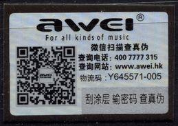 AWEI Earphone Headphone  - Seal Of Original / Self Adhesive Label - 2016 - Hologram Holography / Hong Kong China - Speakers