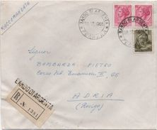 Siracusana £. 40 X 2 + Michelangiolesca £. 50 Su Busta Annullo Bando Di Argenta (Ferrara) 28.12.1965 - 1961-70: Marcophilie