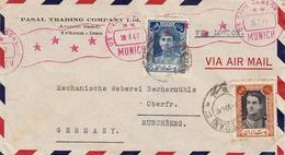 PERSIEN - IRAN 1947 - 2,5 R + 10 R Auf Brief (US CIVIL CENSOR, Roter Rollstempel) Via Air Mail Von Tehran Via London ... - Irán