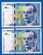 Suite  2  Billets  De  50  Fr - 1992-2000 Last Series