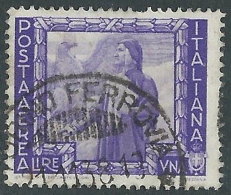 1938 REGNO POSTA AEREA USATO IMPERO 1 LIRA - R44-7 - 1900-44 Vittorio Emanuele III