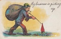 'My Business Is Picking Up' Bum Picks Up Garbage, Rag Man, Humor C1900s Vintage Postcard - Illustrators & Photographers