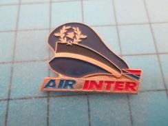 Pin610c Pin's Pins : BEAU ET RARE : AVION COMPAGNIE AERIENNE AIR INTER CASQUETTE DE KéKé , Marquage Au Dos : - --- - Airplanes