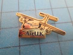 Pin610c Pin's Pins : BEAU ET RARE : AVION COMPAGNIE AERIENNE AIR UK Exit Les Rosbifs  , Marquage Au Dos : - --- - - Airplanes
