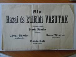 X138.1  Raiway Train - Bla Hazai és Külföldi Vasutak Hungary  Poster Affiche Ca 1940 - Europe