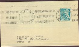 PLI TIMBRE 1943  PARIS 70  RUE DE BUZENVAL VOIR PHOTO - Marcophilie (Lettres)